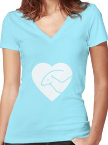 Dinosaur heart: Parasaurolophus Women's Fitted V-Neck T-Shirt