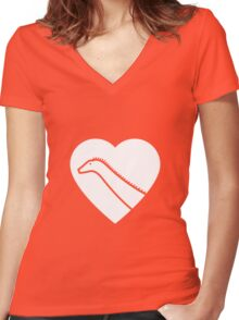 Dinosaur heart: Diplodocus Women's Fitted V-Neck T-Shirt