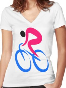 Cyclist Icon Women's Fitted V-Neck T-Shirt