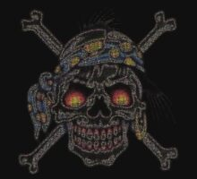 Pirate pointillism skull and crossbones by BungleThreads