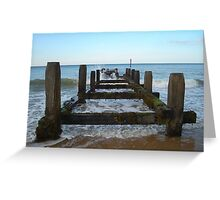 Water crashing on a Groyne at a Beach Greeting Card