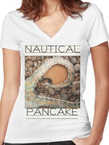 Nautical Pancake Women's Fitted V-Neck T-Shirt