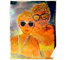 ANOTHER OREILLY ORIGINAL PAINTING REFLECTIONS OF Anna and Carol at the Beach Poster