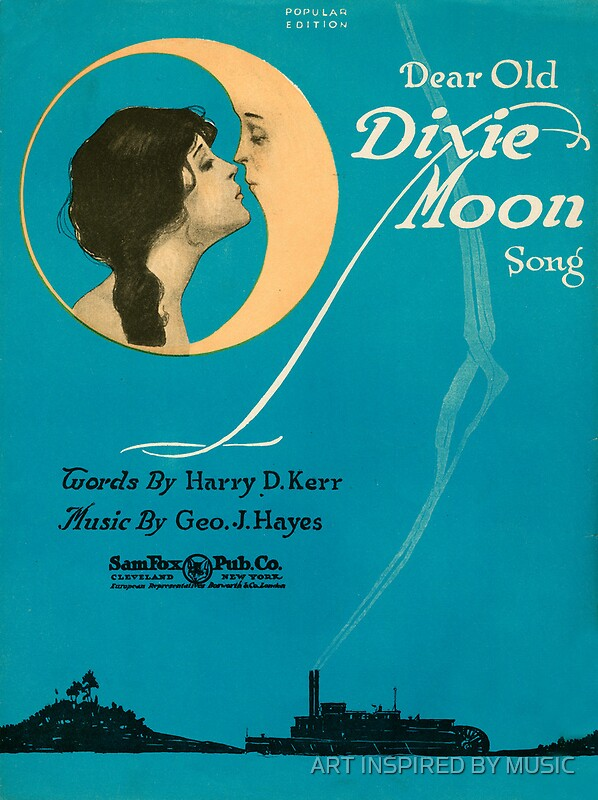 "DEAR OLD DIXIE MOON (vintage illustration)"" Posters by ART INSPIRED ..."