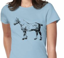 Percheron Stallion Black Womens Fitted T-Shirt