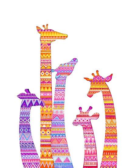 Giraffe Silhouettes in Colorful Tribal Print by Annya Kai