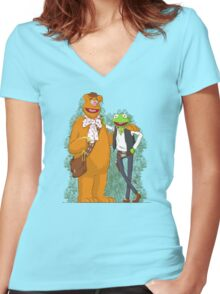 han the frog and fozzy the wookie Women's Fitted V-Neck T-Shirt