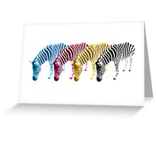 CMYK Drinking Zebras Greeting Card
