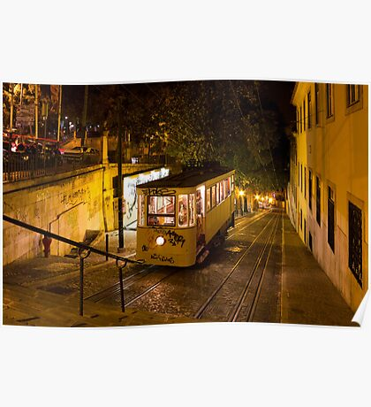 Lisbon Gloria Funicular Night Shot Poster