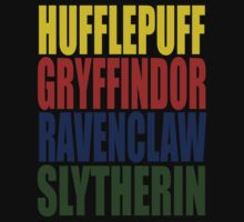 Hogwarts Houses Typography T-Shirt