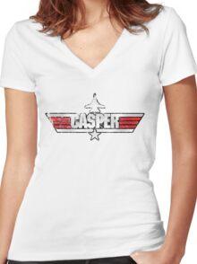 Custom Top Gun Style - Casper Women's Fitted V-Neck T-Shirt