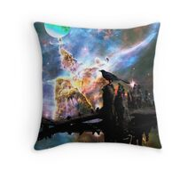 Calling The Night - Crow Art By Sharon Cummings Throw Pillow
