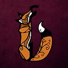 Curled Up Red Fox - Purple Background by agentotter