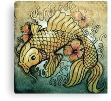 koi fish and Hibiscus  Canvas Print