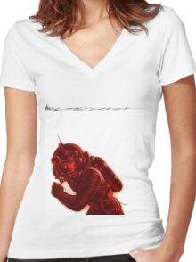 Moonscape II Women's Fitted V-Neck T-Shirt