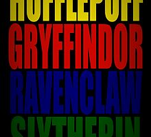 Hogwarts Houses Typography by thebiscuitgirl