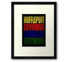 Hogwarts Houses Typography Framed Print