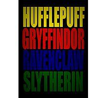 Hogwarts Houses Typography Photographic Print