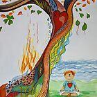 Live Love Yoga  Bear Meditation by Monica Batiste