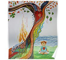 Live Love Yoga  Bear Meditation Poster