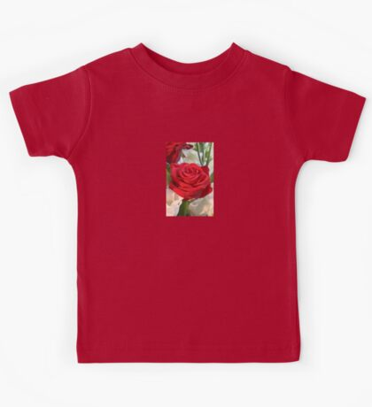 Red Rose with Garden Background Kids Tee