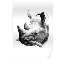 Rhino in Pencil Poster