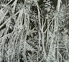 Rainforest on Black by Cathy Gilday