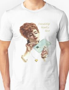 Beautiful Young Woman Holding Love Letter Vintage Vector T-Shirt
