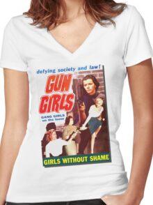 Gang Deb Gun Girls  Women's Fitted V-Neck T-Shirt