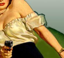 Classic Girl with Gun Sticker