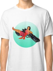 Swinging Sixties Girl on Gun Classic T-Shirt