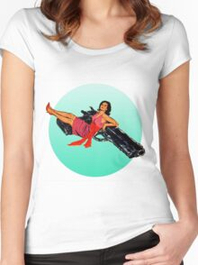 Swinging Sixties Girl on Gun Women's Fitted Scoop T-Shirt