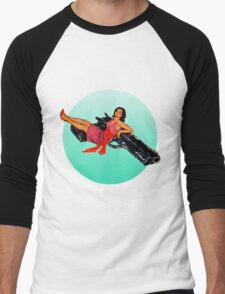 Swinging Sixties Girl on Gun Men's Baseball ¾ T-Shirt