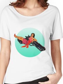 Swinging Sixties Girl on Gun Women's Relaxed Fit T-Shirt