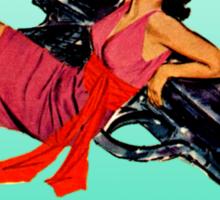 Swinging Sixties Girl on Gun Sticker