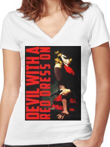 Devil with a Red Dress On Women's Fitted V-Neck T-Shirt