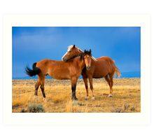 Lean on Me, Wild Mustangs Art Print
