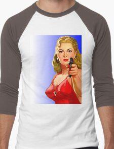 Red Hot Girl with Gun Men's Baseball ¾ T-Shirt