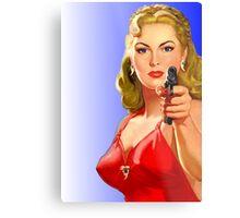 Red Hot Girl with Gun Metal Print