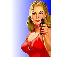 Red Hot Girl with Gun Photographic Print