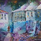 Fading Daylight in Village - Street Scenes Art Gallery by Ballet Dance-Artist