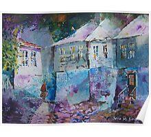 Fading Daylight in Village - Street Scenes Art Gallery Poster