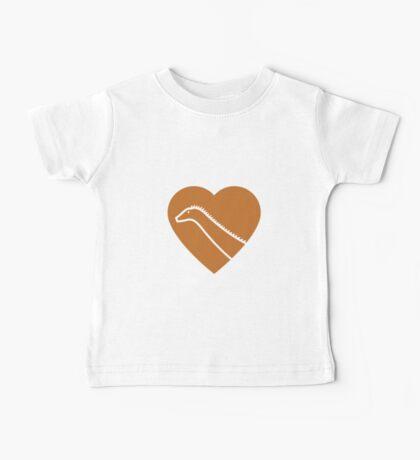 Dinosaur heart: Diplodocus (Orange on White) Baby Tee