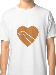 Dinosaur heart: Diplodocus (Orange on White) Classic T-Shirt