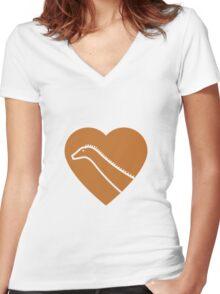 Dinosaur heart: Diplodocus (Orange on White) Women's Fitted V-Neck T-Shirt