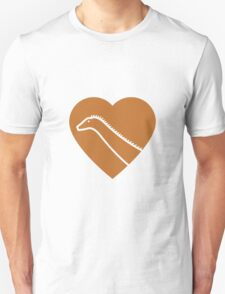 Dinosaur heart: Diplodocus (Orange on White) T-Shirt