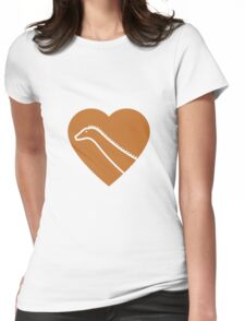 Dinosaur heart: Diplodocus (Orange on White) Womens Fitted T-Shirt