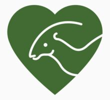 Dinosaur heart: Parasaurolophus (Green on white) Kids Clothes
