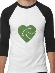 Dinosaur heart: Parasaurolophus (Green on white) T-Shirt
