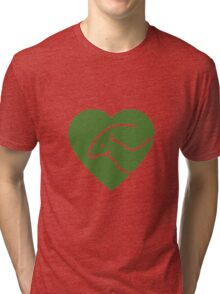 Dinosaur heart: Parasaurolophus (Green on white) Tri-blend T-Shirt
